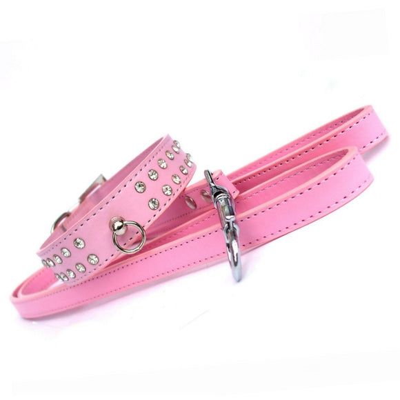 Dog Collar & Lead Sets Diamante Dog Collar Lead Set - Baby Pink - Prince & Princess Designer Petwear