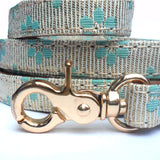 Dog Leads Flower Fabric Dog Leads - Blue - Prince & Princess Designer Petwear