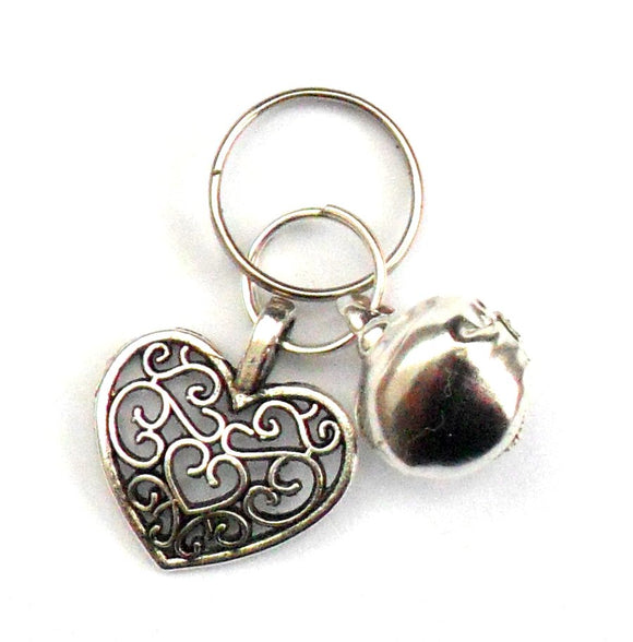 Charms Filigree Heart Bell Pet Charm - Prince & Princess Designer Petwear