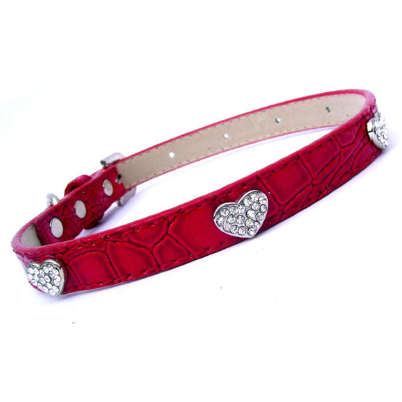 Dog Collars Love Hearts Croc Dog Collar - Prince & Princess Designer Petwear