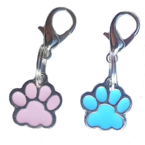 Enamel Paw Cat Collar Charms