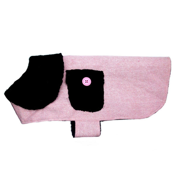 Dog Clothes Pink Herringbone Dog Coat - Prince & Princess Designer Petwear