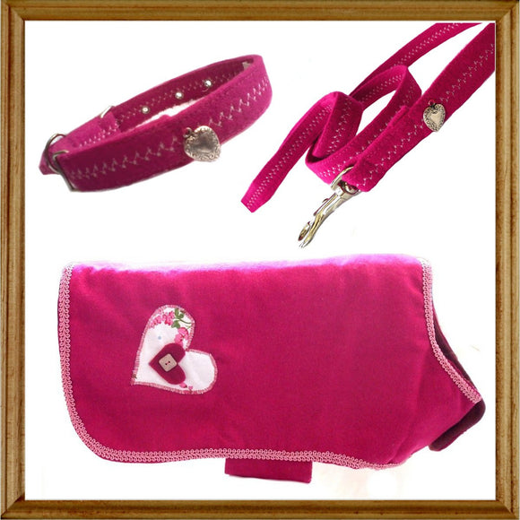 Gift Sets Heart Dog Coat Collar & Lead - Prince & Princess Designer Petwear