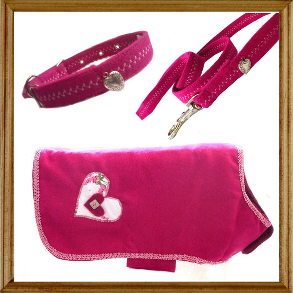 Heart Dog Coat Collar & Lead