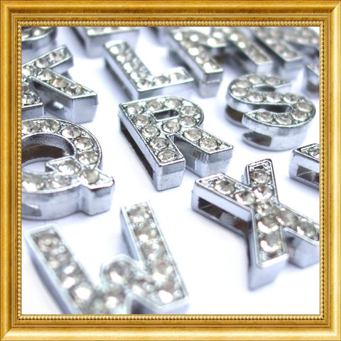 Silver Crystal Slider Letters - 10mm