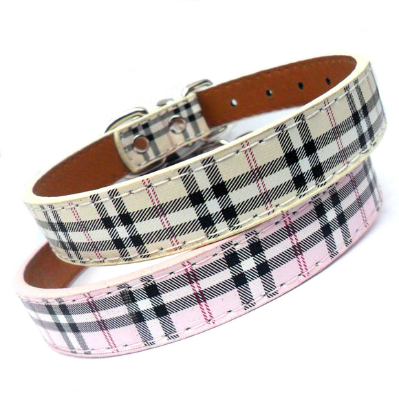 Dog Collars Tartan Check Dog Collar - Prince & Princess Designer Petwear
