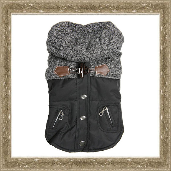 Dog Clothes Black & Grey Tweed Dog Coat - Prince & Princess Designer Petwear