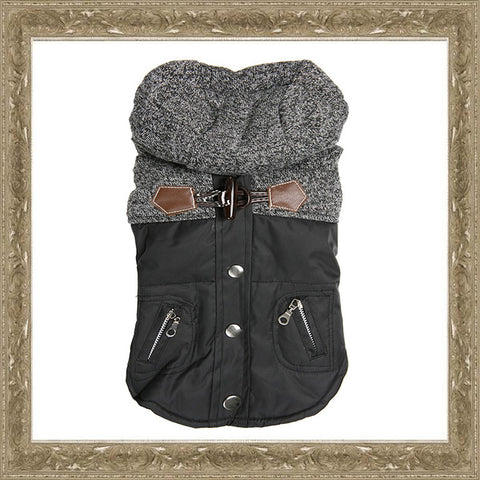 Black & Grey Tweed Dog Coat