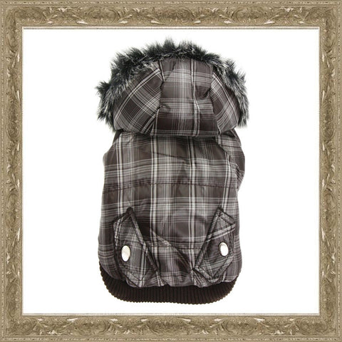 Checked Detachable Hood Dog Coat