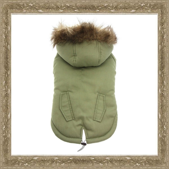 Dog Clothes Green Fur Hood Parka Dog Coat - Prince & Princess Designer Petwear