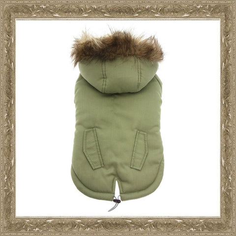 Green Fur Hood Parka Dog Coat