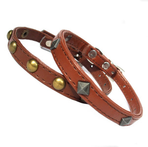 Dog Collars Brown Studded Dog Collars - Prince & Princess Designer Petwear