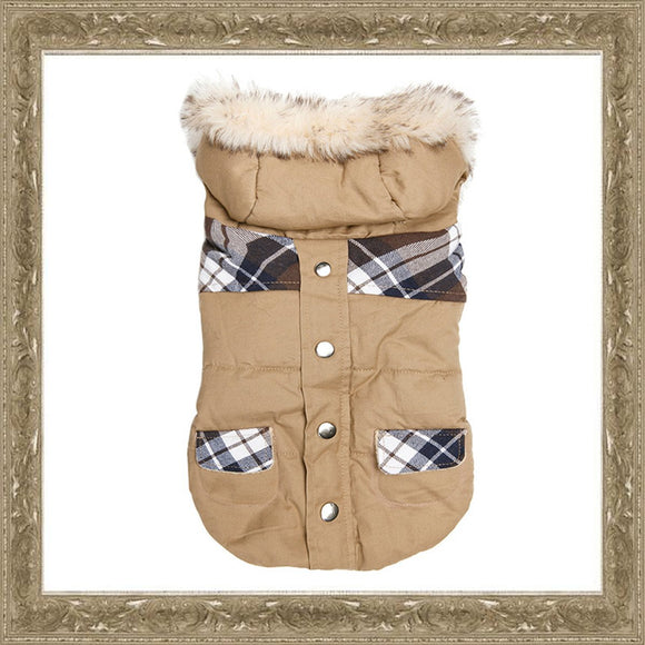 Dog Clothes Tan & Tartan Hooded Dog Parka Coat - Prince & Princess Designer Petwear