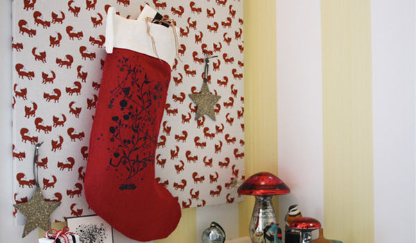 christmas stocking red linen