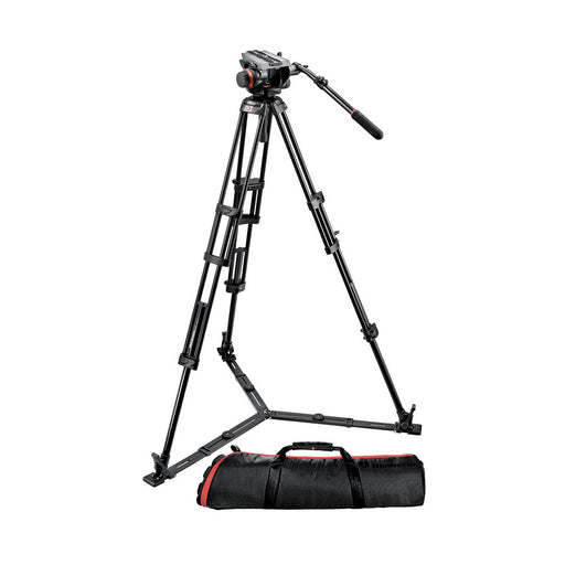 Kit de tripe Manfrotto 504HD,546GBK para video profesional con cabeza 9kg