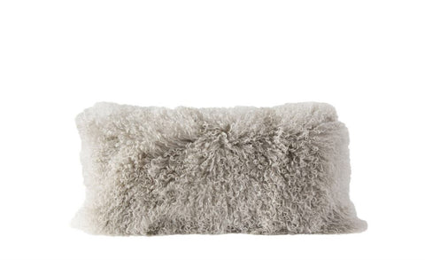 Long fur throw pillow