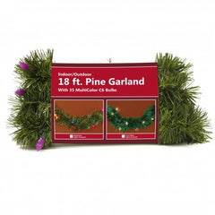 18ft Pine Garland with 35 MutliColor C6 Bulbs