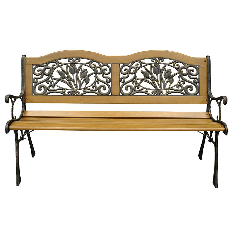 Park Bench with Decorative Design