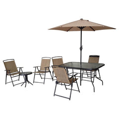 9 Piece Sling Patio Set (brown)