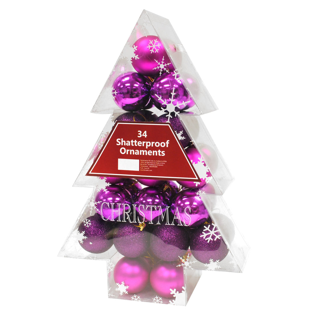 34 pack Shatterproof Ornaments