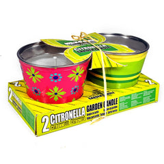 2 Citronella Garden Candles in Metal Buckets