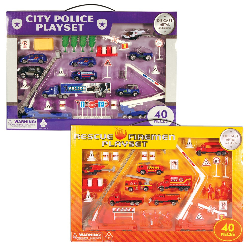 40 Piece Diecast Playsets (Police & Firemen, sold separately)