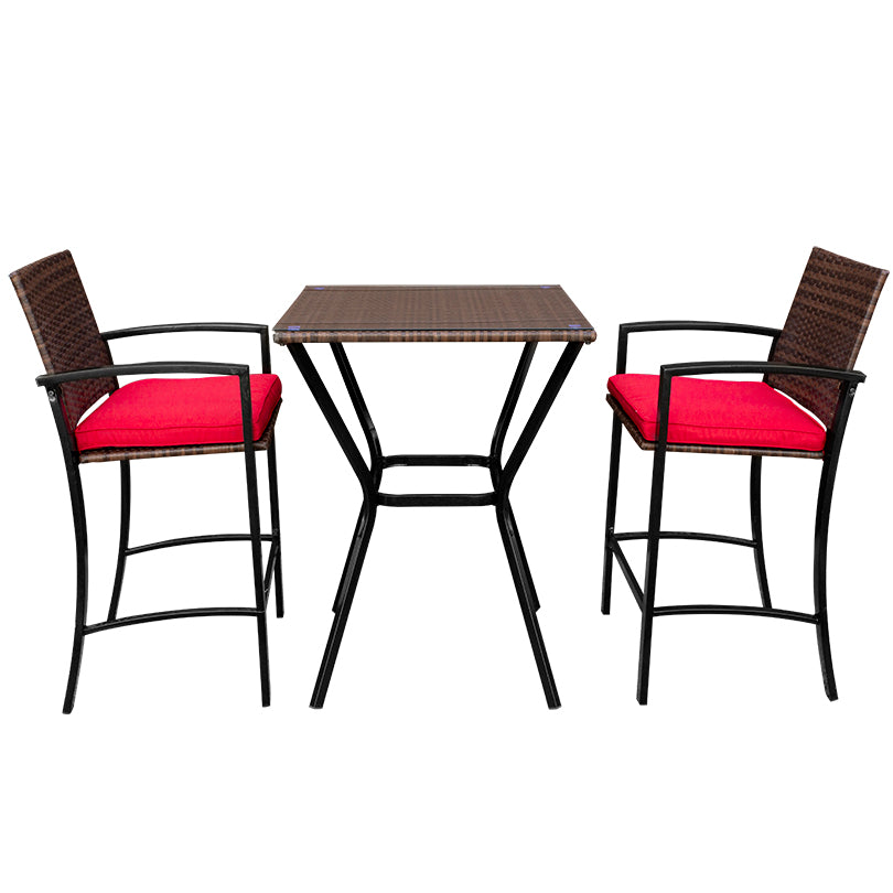 3 Piece Steel Wicker Bar Set