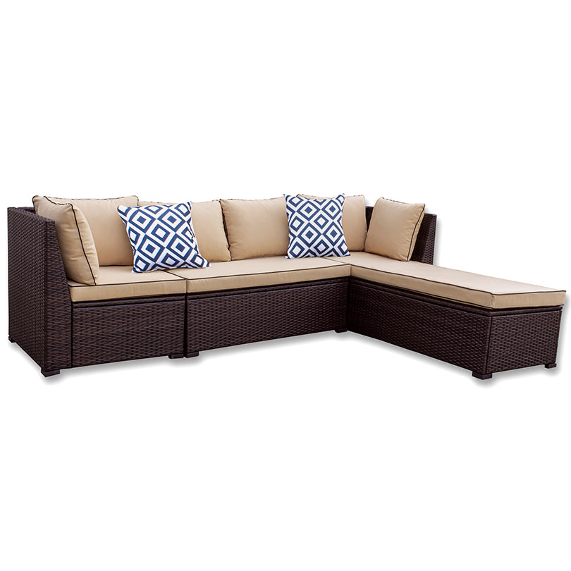 3 Piece Wicker Set with Chaise