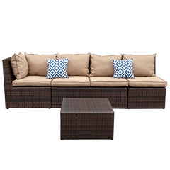 4 Piece Sectional Wicker Sofa Set