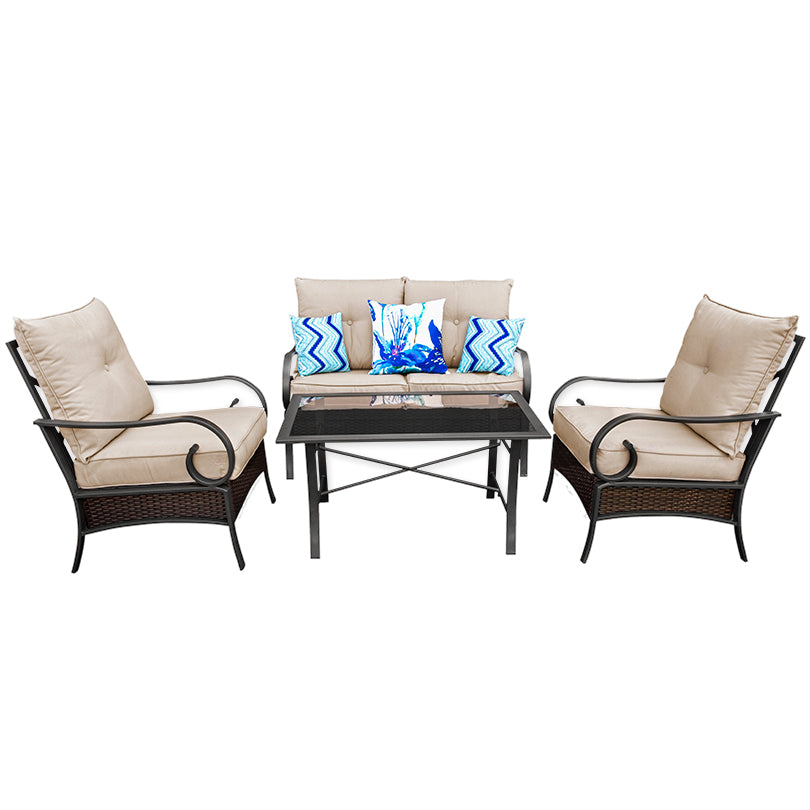 4 Piece Wicker Sofa Set