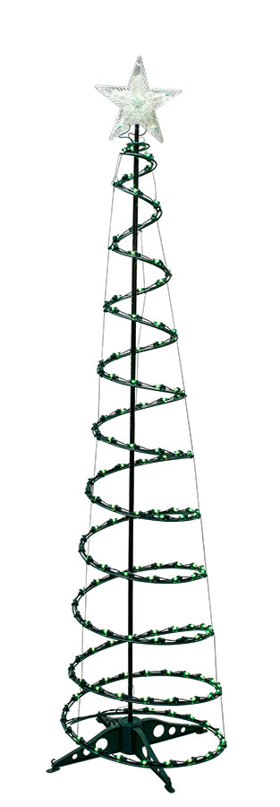 6' Green Lights Spiral Tree with Star