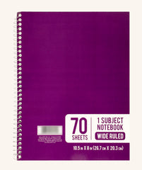 70 Sheets 1 Subject Spiral Notebook