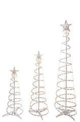 Clear-lights Spiral Trees with Stars (set of 3)