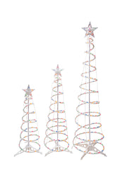 Multi-color Lights Spiral Trees with Stars (set of 3)