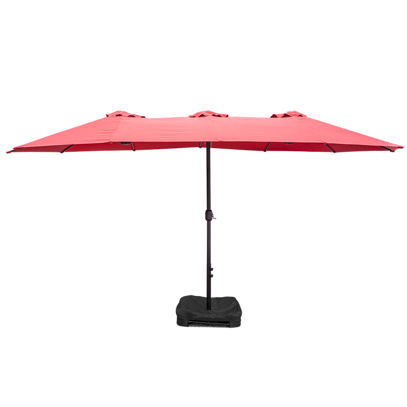 15' Twin Umbrella with Sandbag Base