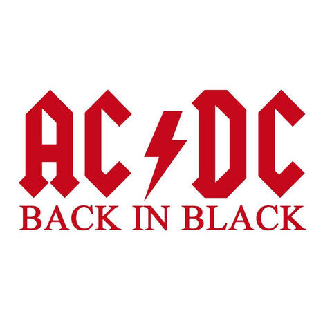 AC/DC Back In Black Logo Rub-On Sticker - Red