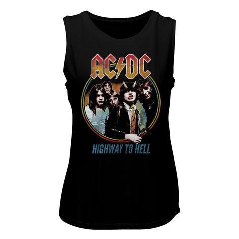 AC/DC Special Order Highway To Hell Tricolor Ladies Muscle Tank