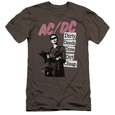 AC/DC Special Order Dirty Deeds Men's Premium Ultra-Soft 30/1 100% Cotton Slim Fit T-Shirt - Eco-Friendly - Made In The USA