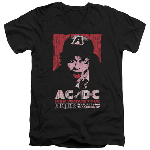 AC/DC Special Order High Voltage Live 1975 Men's 30/1 100% Cotton Slim Fit V-Neck T-Shirt