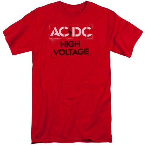 AC/DC Special Order High Voltage Stencil Men's 18/1 Tall 100% Cotton Short-Sleeve T-Shirt