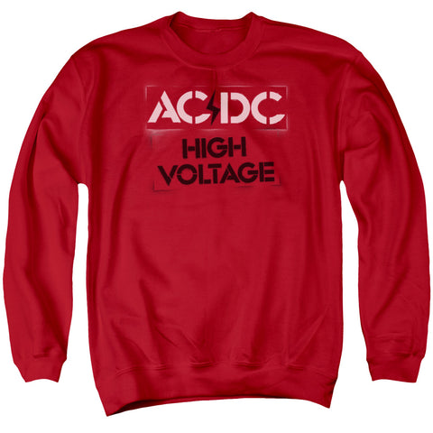 AC/DC Special Order High Voltage Stencil Men's Crewneck 50% Cotton 50% Poly Long-Sleeve Sweatshirt