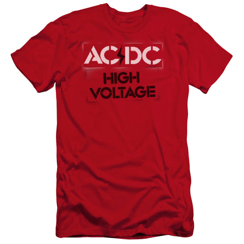 AC/DC Special Order High Voltage Stencil Men's Premium Ultra-Soft 30/1 100% Cotton Slim Fit T-Shirt - Eco-Friendly - Made In The USA
