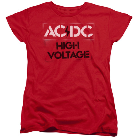 AC/DC Special Order High Voltage Stencil Women's 18/1 100% Cotton Short-Sleeve T-Shirt