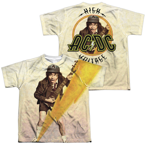 AC/DC Special Order Higher Voltage (Front/Back Print) Youth Regular Fit 100% Polyester Short-Sleeve T-Shirt