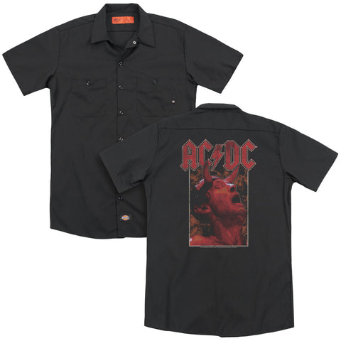 AC/DC Special Order Horns (Back Print) Men's 35% Cotton 65% Poly Short-Sleeve Work Shirt