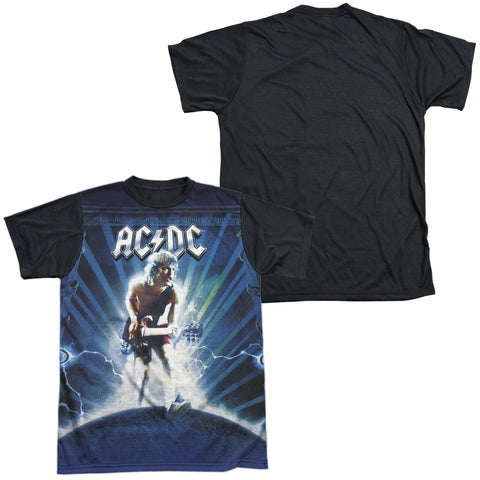 AC/DC Special Order Lightning Men's Black Back Regular Fit 100% Polyester Short-Sleeve T-Shirt