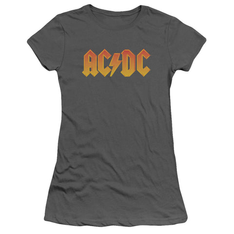 AC/DC Special Order Logo Junior's 30/1 100% Cotton Cap-Sleeve Sheer T-Shirt