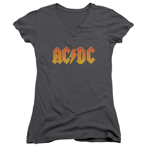AC/DC Special Order Logo Junior's 30/1 100% Cotton Cap-Sleeve Sheer V-Neck T-Shirt