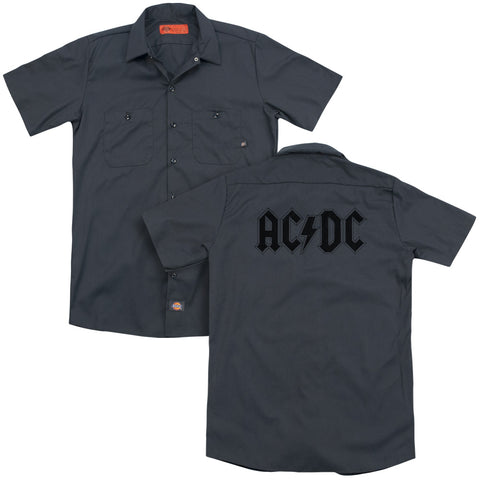 AC/DC Special Order Worn Logo (Back Print) Men's 35% Cotton 65% Poly Short-Sleeve Work Shirt
