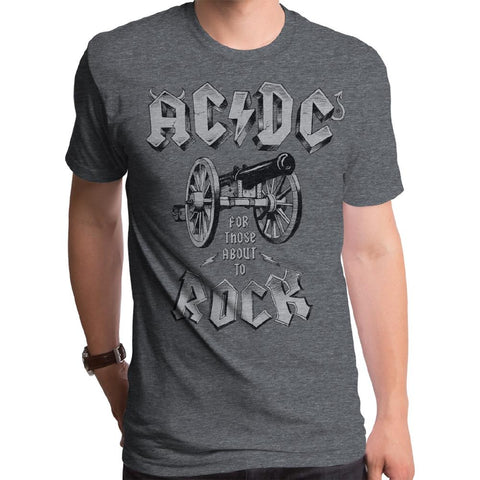 AC/DC About To Rock Cannon Mens S/S Shadow Gray T-Shirt